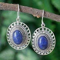 Lapis lazuli dangle earrings, 'Tribal Medallion' - Lapis Lazuli Earrings from India Silver Jewelry Collection