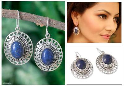Lapis lazuli dangle earrings, 'Tribal Medallion' - Lapis Lazuli Earrings from India Silver jewellery Collection