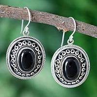 Onyx dangle earrings, 'Tradition'