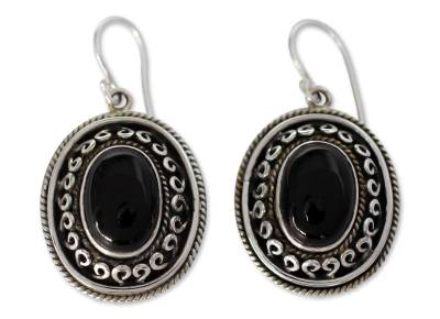 Onyx dangle earrings, 'Tradition' - Black Onyx and Sterling Silver Earrings from India