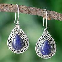 Lapis lazuli dangle earrings, 'Palace Memories' - Handmade Sterling Silver and Lapis Lazuli Earrings