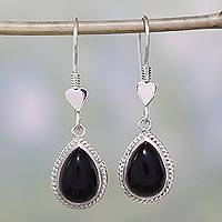 Onyx dangle heart earrings, 'Love Symbol' - Onyx Artisan Crafted Earrings with Sterling Silver