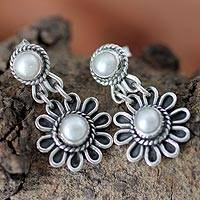 Pearl flower earrings, 'Pristine Blossom' - Pearl Flower Earrings Handcrafted in Sterling Silver