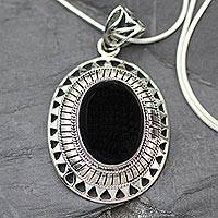Onyx pendant necklace, 'Tribal Medallion' - Handcrafted Silver and Onyx Pendant Necklace
