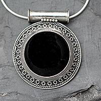 Onyx pendant necklace, 'Moon over Delhi'