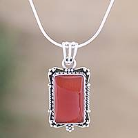 Sterling silver pendant necklace, 'Jaipuri Red' - Hand Crafted Sterling Silver and Onyx Necklace
