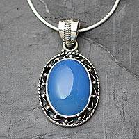 Chalcedony pendant necklace, 'Whisper' - Sterling Silver and Chalcedony Pendant Necklace