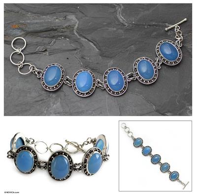 Chalcedony link bracelet, 'Whisper' - Chalcedony link bracelet