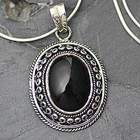 Onyx pendant necklace, 'Tradition' - Onyx pendant necklace