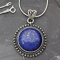Lapis lazuli pendant necklace, 'Sky Over Varkala' - India Jewelry Sterling Silver and Lapis Lazuli Necklace