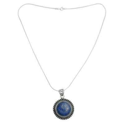 Lapis lazuli pendant necklace, 'Sky Over Varkala' - India jewellery Sterling Silver and Lapis Lazuli Necklace