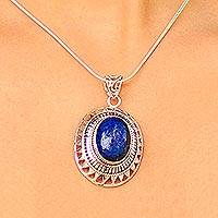 Lapis lazuli pendant necklace, 'Tribal Medallion' - Indian Necklace with Sterling Silver and Lapis Lazuli