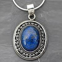 Lapis lazuli pendant necklace, 'Tradition' - Blue jewellery Necklace with Lapis and Silver from India