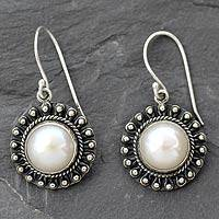Pearl dangle earrings, 'Purity' - Sterling Silver and Pearl Bollywood Style Dangle Earrings