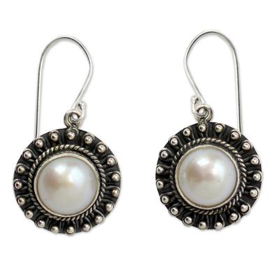 Pearl dangle earrings, 'Purity' - Sterling Silver and Pearl Earrings Women's Jewelry