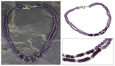 Amethyst strand necklace, 'Agra Lilac' - Amethyst strand necklace