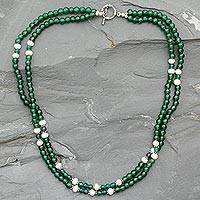 Aventurine and pearl strand necklace, 'Indian Meadows' - Gemstone Bead and Sterling Silver Necklace from India