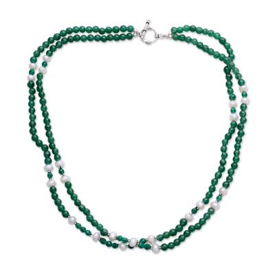 Aventurine and pearl strand necklace