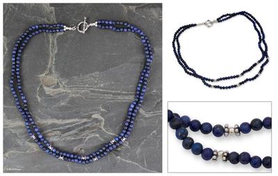 Lapis lazuli strand necklace, 'Agra Azure' - Lapis lazuli strand necklace