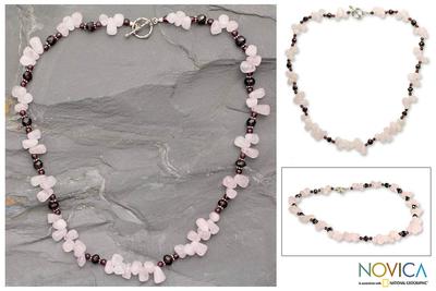 Garnet and rose quartz strand necklace, 'Love's Serenade' - Garnet and rose quartz strand necklace