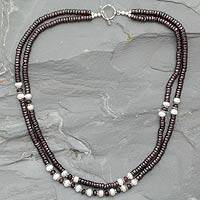 Garnet and pearl strand necklace, 'Indian Passion' - Garnet and pearl strand necklace