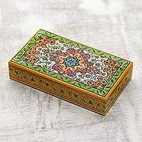 Papier mache box, 'Kashmir Glamour' - Handcrafted Papier Mache Decorative Box from India