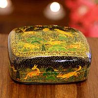 Papier mache box, 'Nature's Law I' - Fair Trade Wood Papier Mache Decorative Box from India