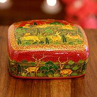 Papier mache box, 'Nature's Law II' - Handcrafted Wood and Papier Mache Box Decorative