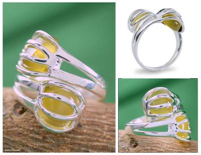 Sterling silver wrap ring, 'Yellow Love Attraction' - Sterling Silver and Yellow Onyx Ring Modern Jewelry