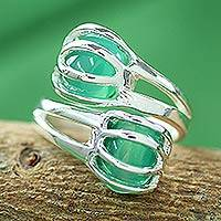 Sterling silver wrap ring, 'Green Love Attraction' - Handcrafted Bollywood Sterling Silver Wrap Ring