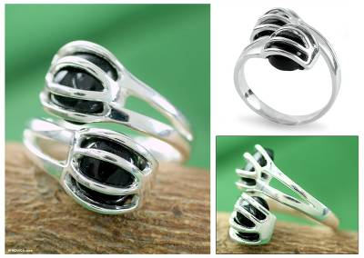 Sterling Silver and Black Onyx Ring Modern Jewelry