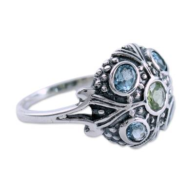 Blue Topaz and Peridot Indian Sterling Silver Ring