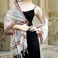 Cotton and silk shawl, 'Regal Madhya' - Cotton and silk shawl