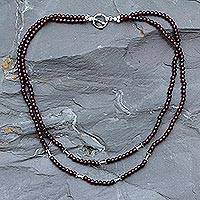 Garnet strand necklace, 'Rajasthani Red'