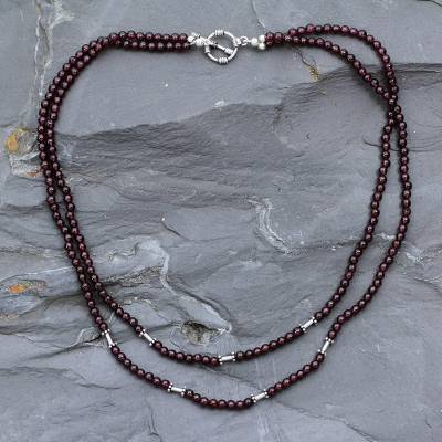 Garnet strand necklace, 'Rajasthani Red' - Garnet strand necklace