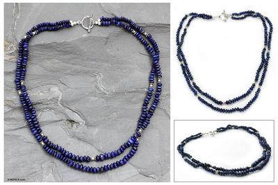 Lapis lazuli strand necklace, 'Rajasthan Sky' - Lapis lazuli strand necklace
