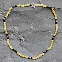Aventurine and garnet strand necklace, 'Sikar Summer' - Aventurine and garnet strand necklace