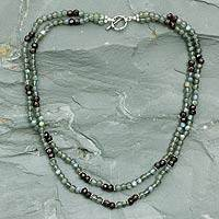 Labradorite and garnet necklace, 'India Twilight' - Labradorite and garnet necklace