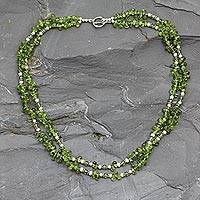 Peridot and pearl strand necklace, 'Kashmiri Meadow' - Peridot and pearl strand necklace