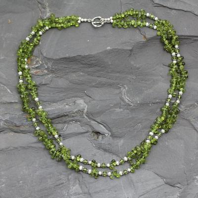 Peridot and pearl strand necklace, 'Kashmiri Meadow' - Peridot and pearl strand necklace