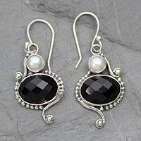 Cultured pearls and onyx dangle earrings, 'Magical Moons' - Handmade Sterling Silver Black Onyx and Akoya Pearls