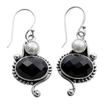 Akoya Pearls and Onyx Handcrafted Sterling Silver Earrings