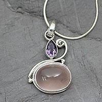 Amethyst and rose quartz pendant necklace, 'Mumbai Dawn' - Amethyst and Rose Quartz Pendant Necklace