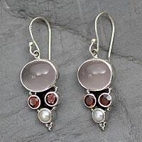 Cultured pearl and rose quartz dangle earrings, 'Love Energy' - Pearl, Garnet and Rose Quartz Dangle Earrings from India