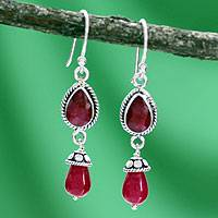 Sterling silver dangle earrings, 'India Scarlet' - Sterling Silver and Agate Dangle Earrings