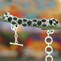 Onyx link bracelet, 'Jaipur Heritage' - Sterling Silver and Onyx Bracelet Indian Jewelry
