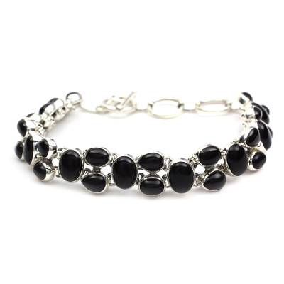 Sterling Silver and Onyx Bracelet Indian Jewelry