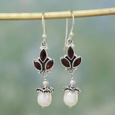 Pearl and garnet chandelier earrings, 'India Passionflower' - Pearl and Garnet Dangle Earrings