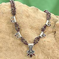 Garnet flower necklace, 'Kerala Carnation' - Handcrafted Sterling Silver and Garnet Indian Necklace