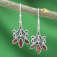 Garnet flower earrings, 'Kerala Carnation' - Fair Trade Floral Sterling Silver and Garnet Earrings